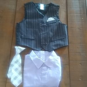 Boys George 12m vest,shirt,clip on tie